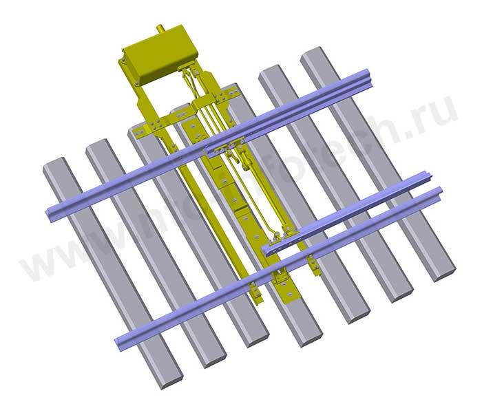 Схема типового расположения стрелочного электропривода типа СП-6М на стрелочном переводе