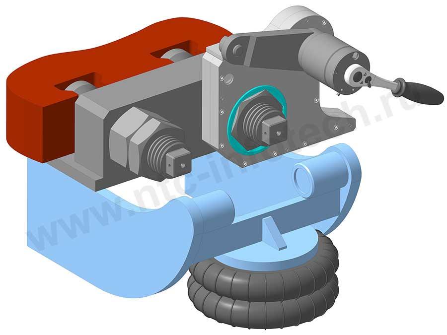 Ключ-мультипликатор находится в положении для откручивания гайки
